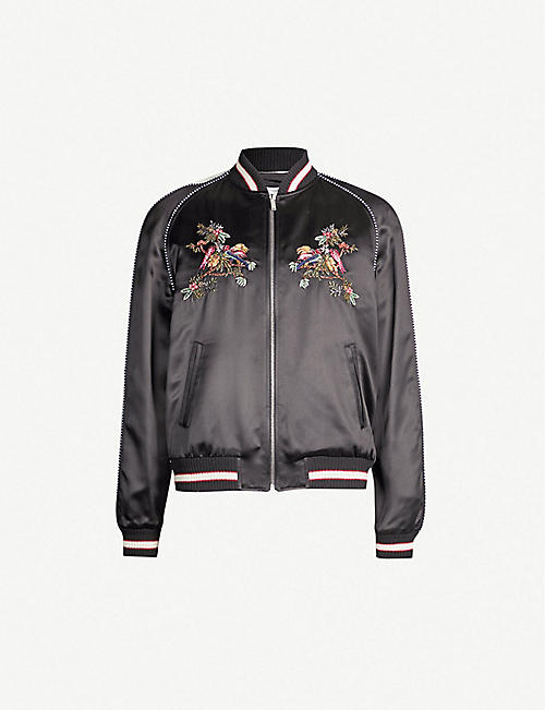 d5dfad1965d9e SAINT LAURENT Embroidered satin bomber jacket