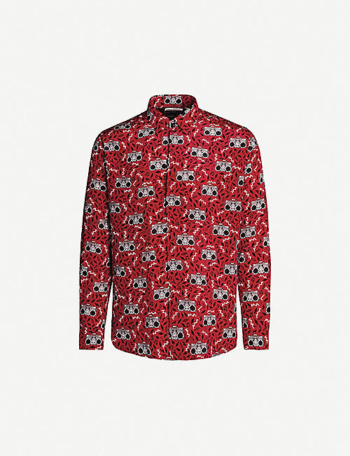 SAINT LAURENT Geometric-print regular-fit silk-crepe shirt