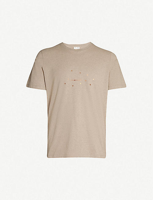 SAINT LAURENT Logo star-print cotton-jersey T-shirt