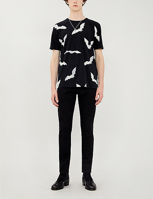 SAINT LAURENT Bat-print cotton-jersey T-shirt