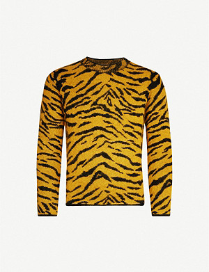 SAINT LAURENT Zebra-intarsia crewneck wool-blend jumper