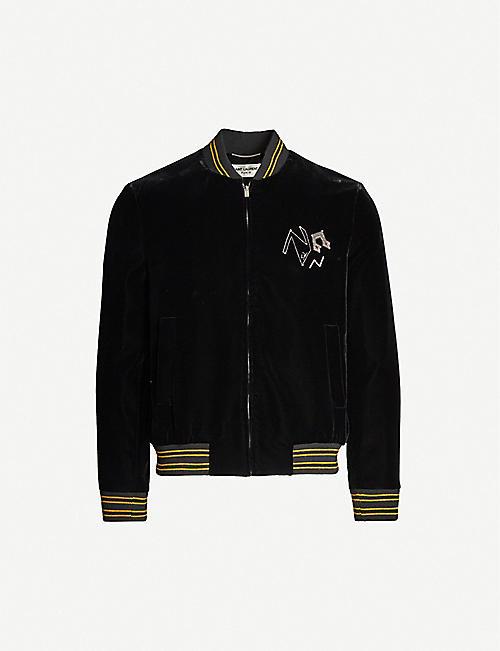 e9905fe39f4 SAINT LAURENT Sequin-embellished velvet bomber jacket