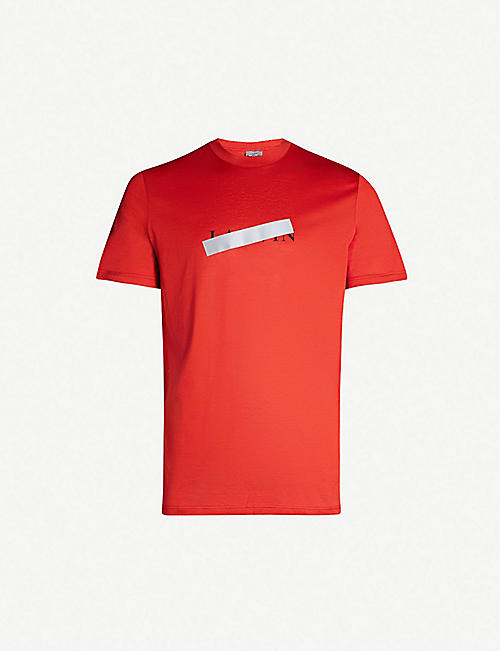 3418e0a8 LANVIN Strikethrough logo-print cotton-jersey T-shirt