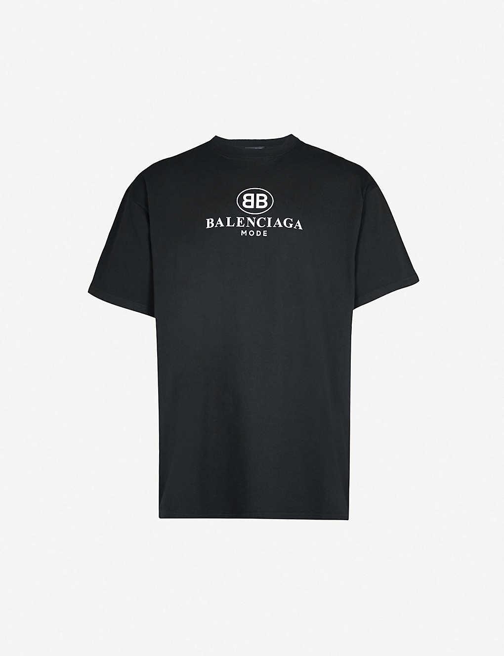 70fb83819501 BALENCIAGA - BB Mode-print cotton-jersey T-shirt | Selfridges.com
