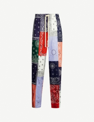 LOEWE Patchwork regular-fit wide cotton-twill trousers