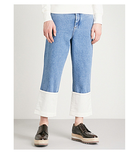 LOEWE Fisherman Wide Cropped Mid-Rise Jeans, Blue
