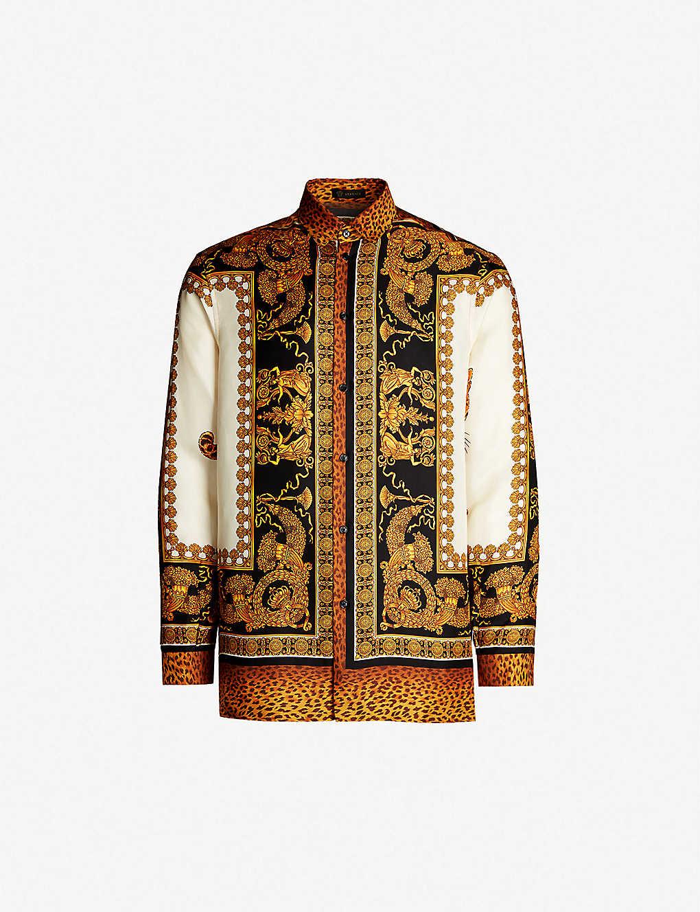 ffbf81f9db98c0 VERSACE - Baroque-print regular-fit silk-twill shirt | Selfridges.com