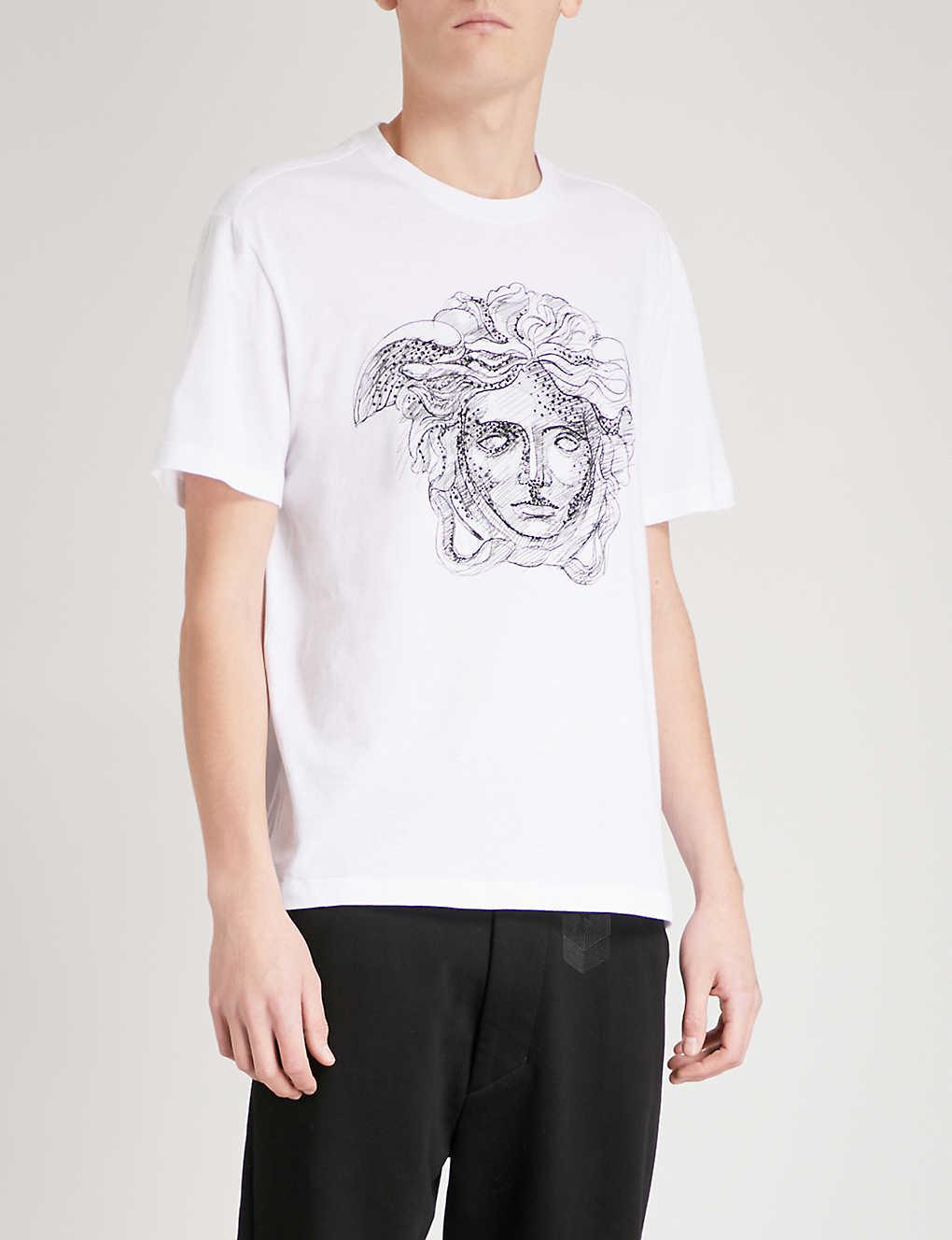 fed1ca4af VERSACE - Crystal-embellished Medusa-print cotton-jersey T-shirt ...