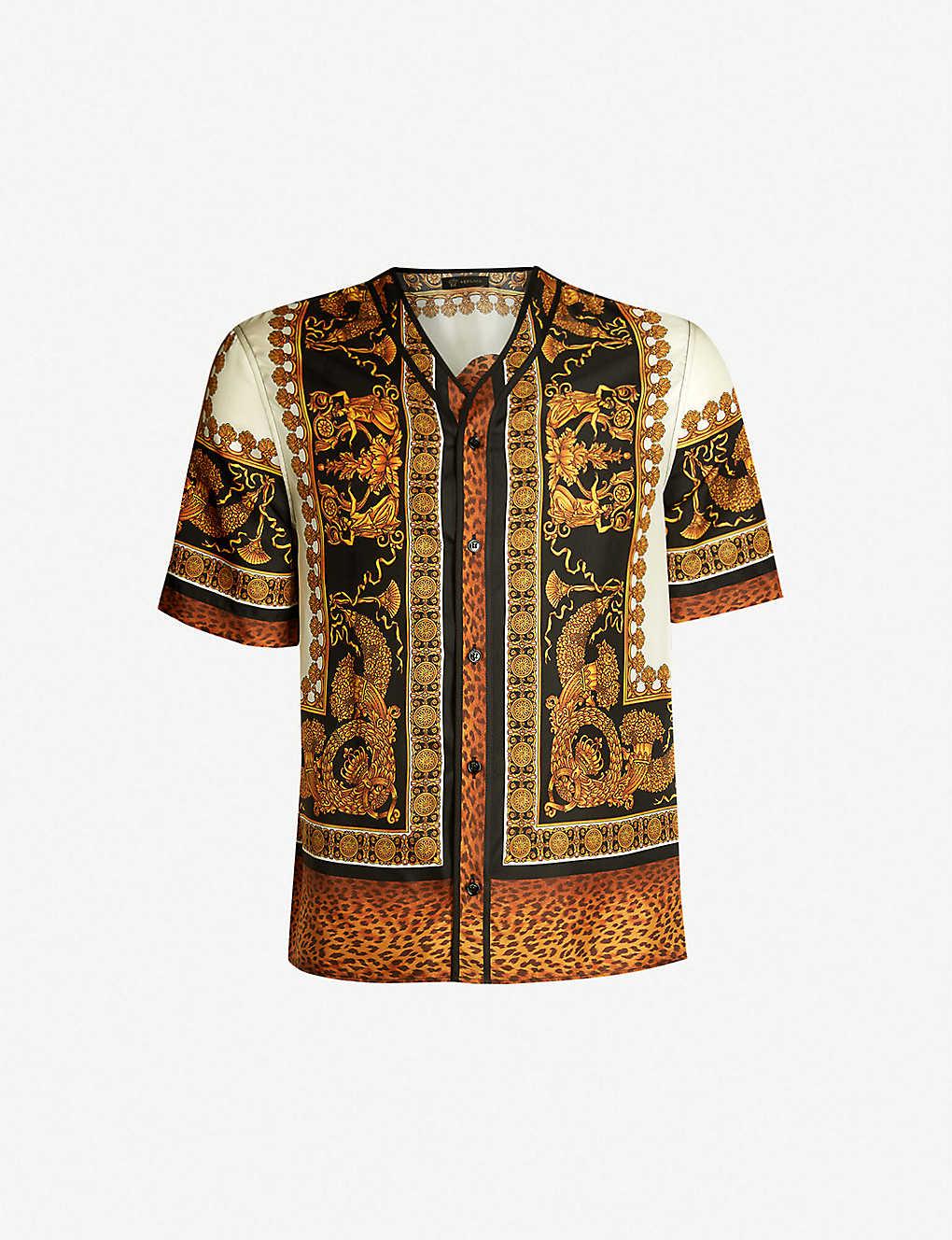 11184c0a52653b VERSACE - Baroque-print silk bowling shirt | Selfridges.com