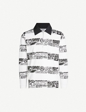 SSS WORLD CORP Two-tone graphic-print cotton-jersey polo shirt