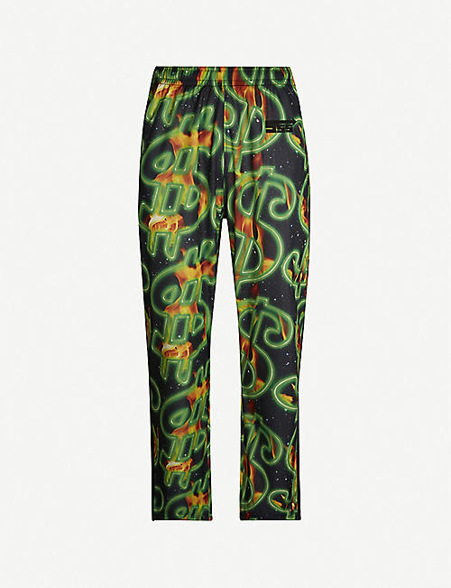 SSS WORLD CORP Dollar fire-print shell tracksuit trousers