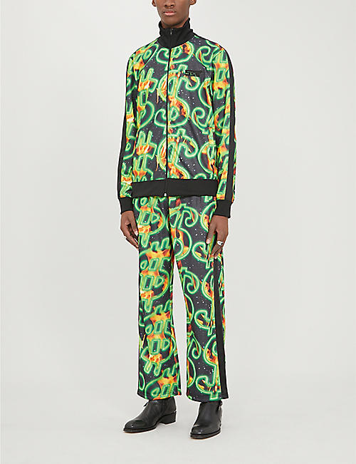 SSS WORLD CORP Dollar fire-print shell tracksuit jacket