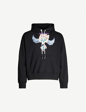 PALM ANGELS Angel-print cotton-jersey hoody