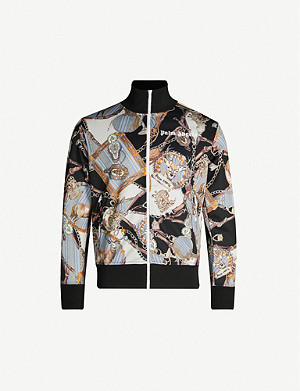 PALM ANGELS Baroque-print funnel-neck jersey tracksuit jacket