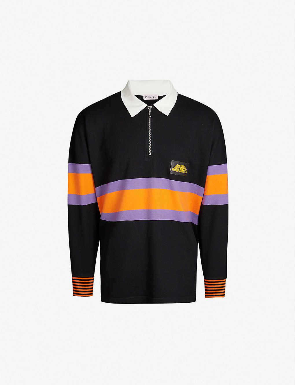 e237b2c40c3 PALM ANGELS - Colour-blocked cotton-blend rugby shirt | Selfridges.com