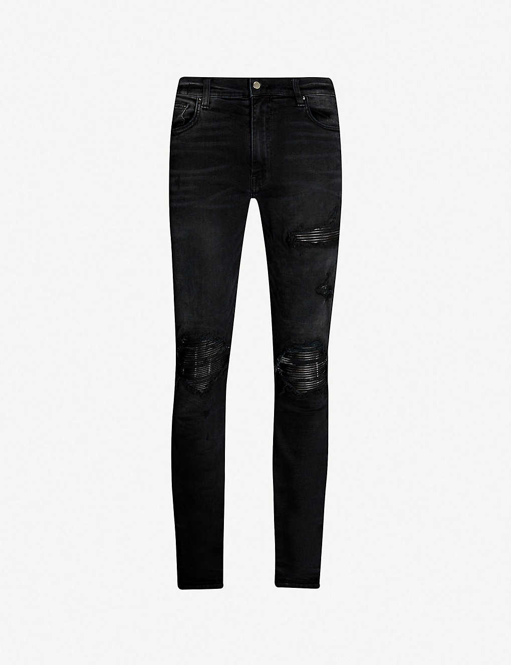 e2e399be063 AMIRI - Leather patch slim-fit skinny jeans