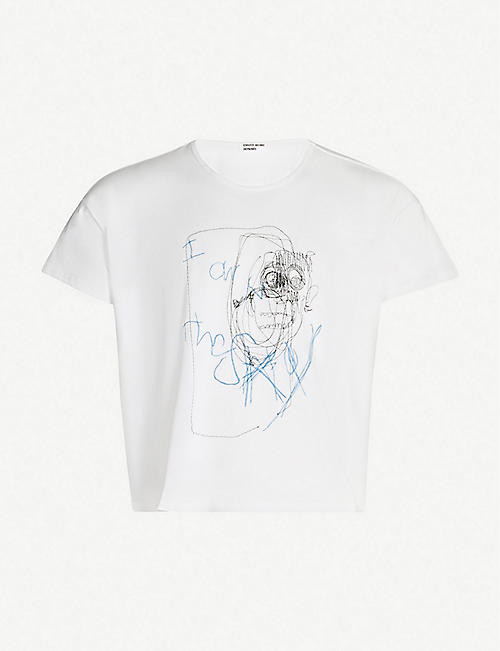 ENFANTS RICHES DEPRIMES Pedestrian-embroidered cotton T-shirt