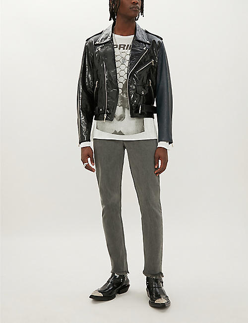 ENFANTS RICHES DEPRIMES Two-tone leather and patent-leather jacket