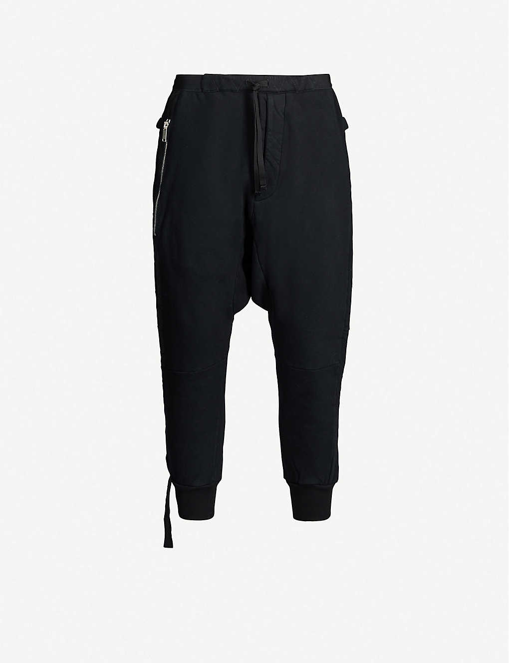 UNRAVEL: Dropped-crotch cotton-jersey jogging bottoms