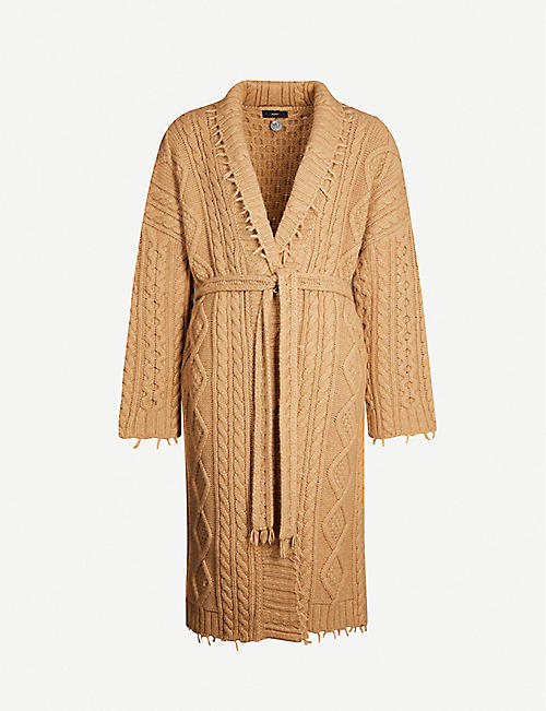 ALANUI Rhum cable-knit cashmere and wool-blend coat