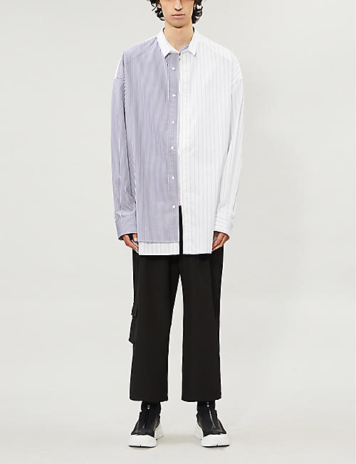JUUN J Contrast stripe oversized cotton shirt