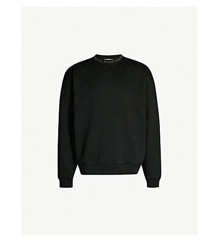 Logo Trim Cotton Jersey Sweatshirt by Acne Studios