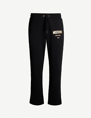 MOSCHINO Metallic logo-front cotton-jersey jogging bottoms