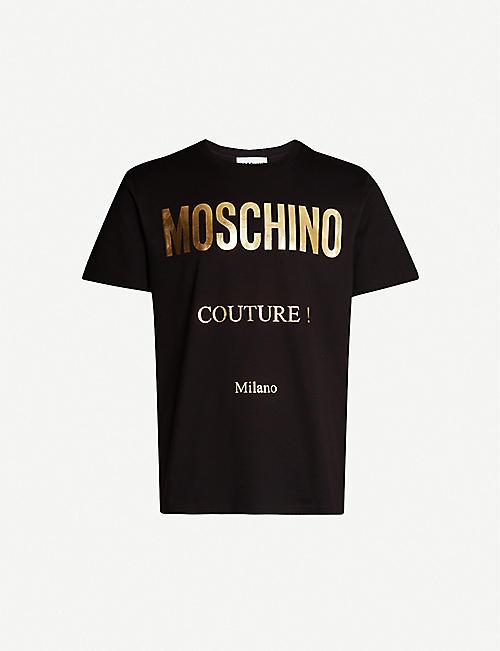 e6dcb849e2 MOSCHINO Metallic logo-print cotton-jersey T-shirt