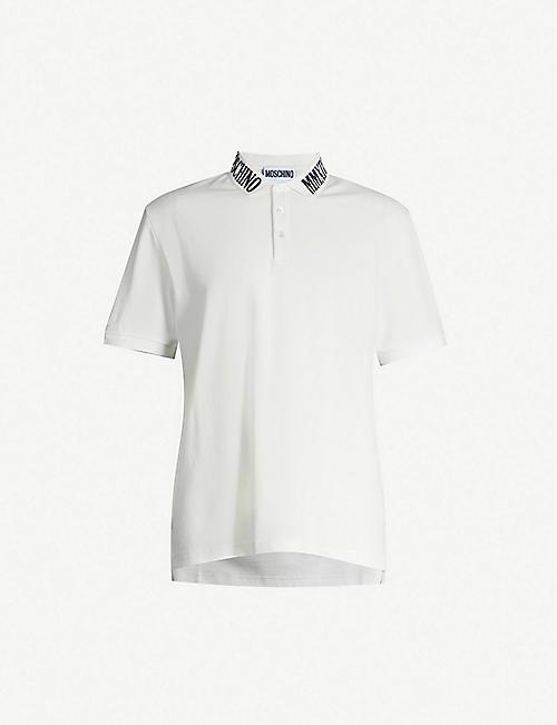 83c611e8 MOSCHINO Branded-collar cotton-piqué polo shirt