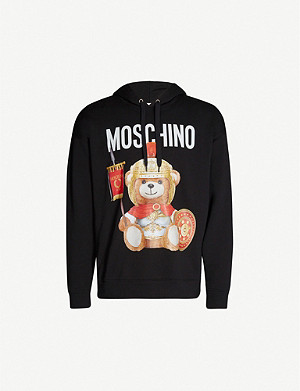 MOSCHINO Teddy raglan-sleeved cotton-jersey hoody