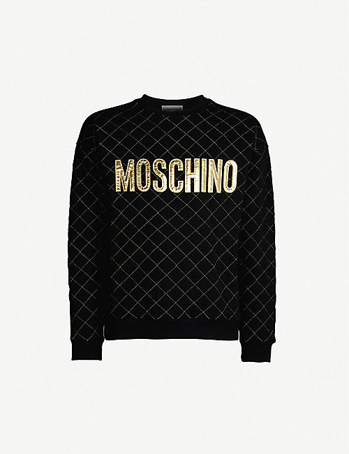MOSCHINO Metallic logo-appliqué quilted cotton-jersey sweatshirt