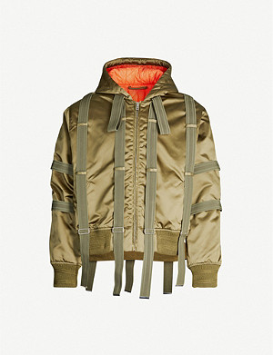 WALTER VAN BEIRENDONCK Elasticated-trim hooded shell bomber jacket