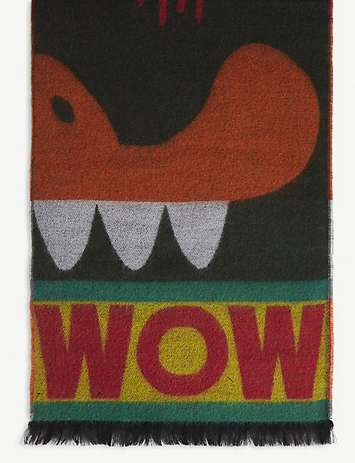 WALTER VAN BEIRENDONCK Dripping monster wool scarf