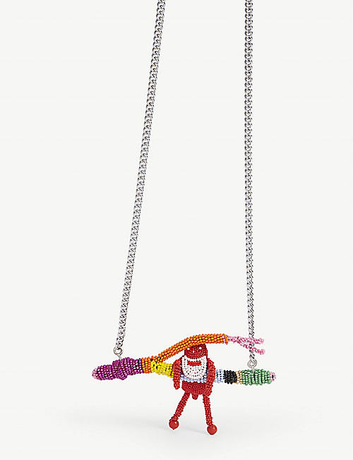 WALTER VAN BEIRENDONCK Paradise small bead leather necklace