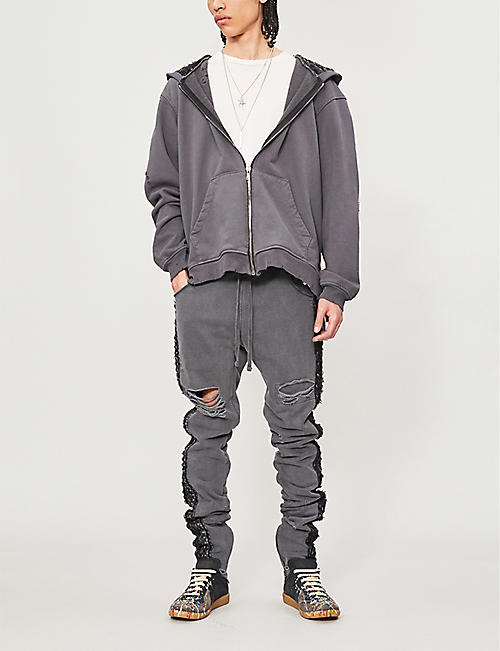 ALCHEMIST Ripped woven-panel cotton-jersey jogging bottoms