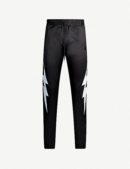 JUST DON Lightning relaxed-fit satin jogging bottoms