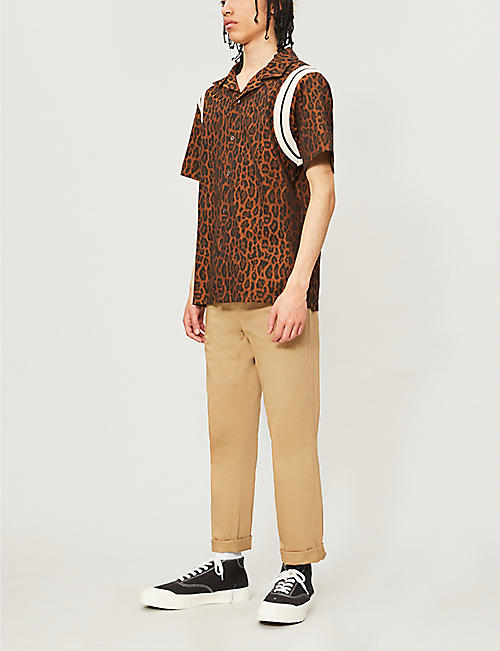 JUST DON Leopard-print regular-fit cotton shirt