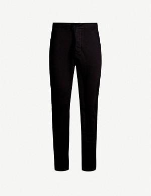 GREG LAUREN Stripe-trimmed skinny jersey jogging bottoms