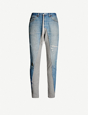 GREG LAUREN Contrast skinny denim jogging bottoms