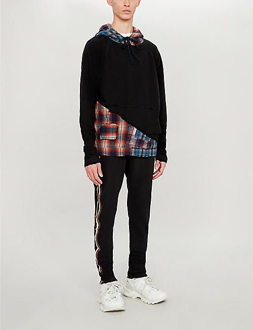 GREG LAUREN Checked cotton-jersey hoody