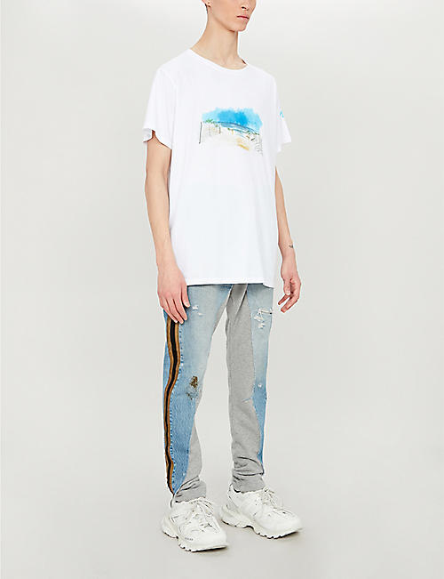 GREG LAUREN Beach-print cotton-jersey T-shirt