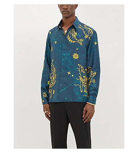 Casablanca T-shirts GRAPHIC-PRINT RELAXED-FIT SILK SHIRT