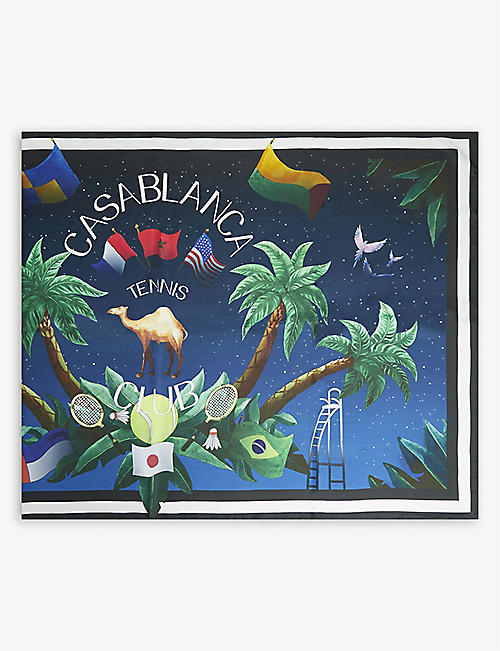 CASABLANCA Midnight tennis silk scarf