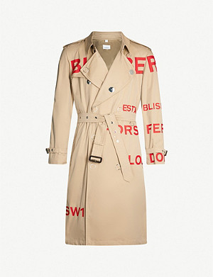 BURBERRY Logo-print cotton trench coat