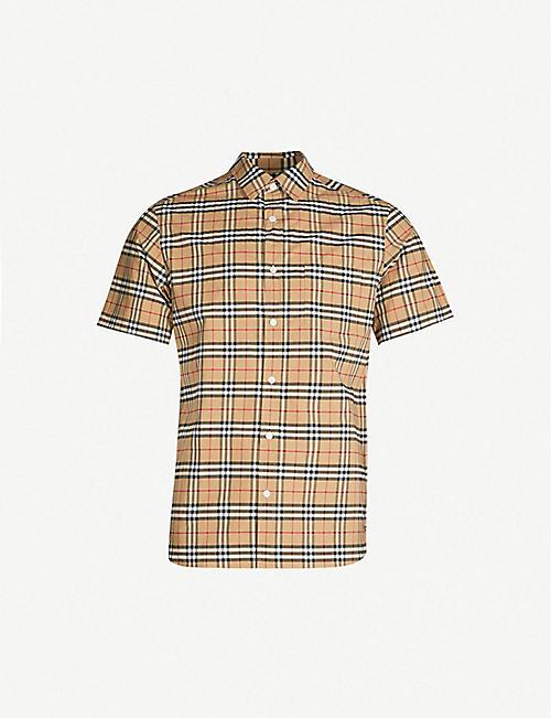 c533a44ec2c BURBERRY Checked regular-fit stretch-cotton shirt