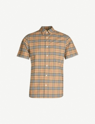 BURBERRY Checked regular-fit stretch-cotton shirt