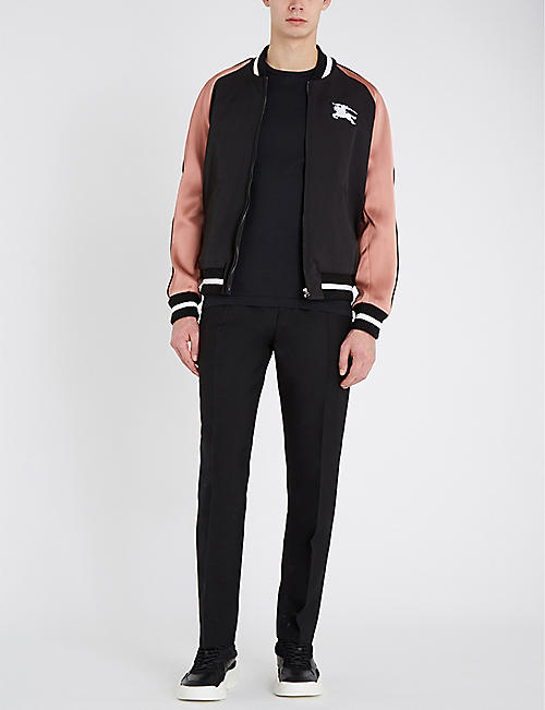 BURBERRY Contrast-striped varsity jacket
