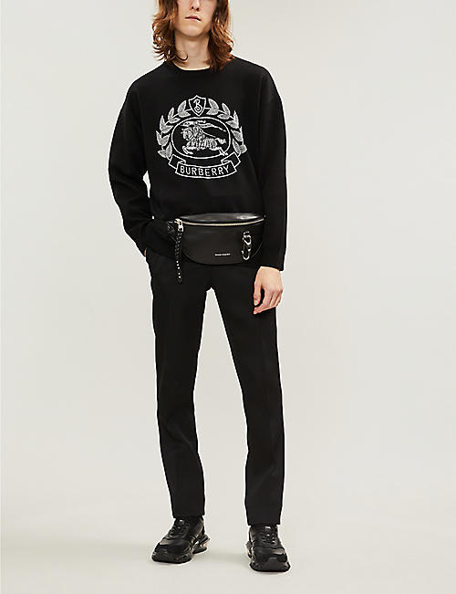 BURBERRY Logo-embroidered wool jumper