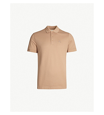 5b3bff5a3585 BURBERRY Hartford check-trimmed cotton-piqué polo shirt (Camel