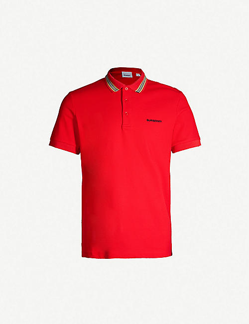 5b802953f BURBERRY Logo-embroidered cotton-piqué polo shirt